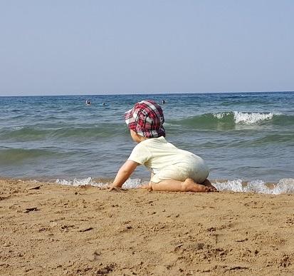Plaża, dziecko, wakacje