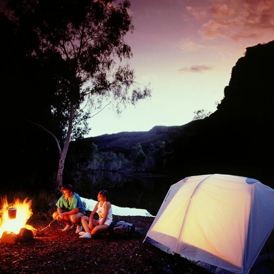 Nocowanie w lesie, namiot