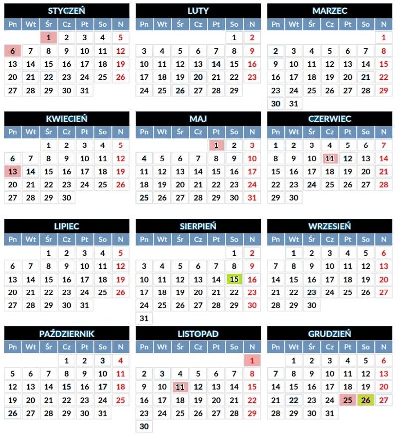 Zobaczcie na kalendarz dni wolnych w 2020