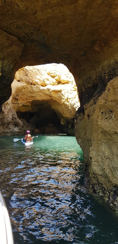 Algarve, Portugalia, kajak, jaskinia
