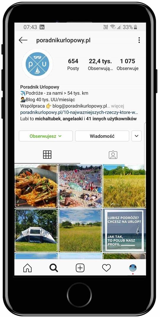 Instagram, profil, Poradnik Urlopowy